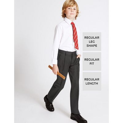 Boys' Wool Blend Pleat Front Trousers