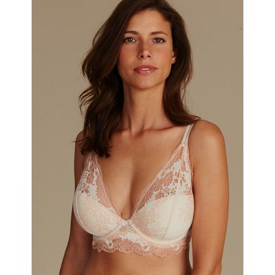 M&S Collection Lace Padded Plunge Bra DD-GG
