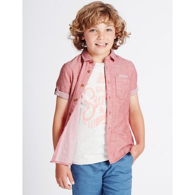 Pure Cotton Double Faced Shirt (3-14 Years)