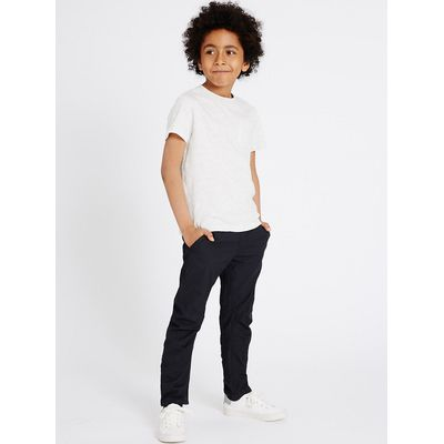 Pure Cotton Navy Trousers (5-14 Years)