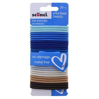 Scunci Blue Colourful Elastics 30pk