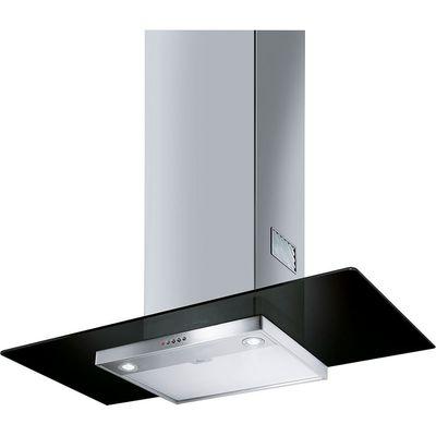 8017709203160: SMEG  KFV92DNE Chimney Cooker Hood   Black Glass   Stainless Steel  Stainless Steel