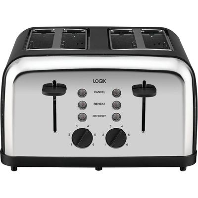 5017416469241 | Logik L04TBK14 4 slice Toaster   Black   Silver  Black Store