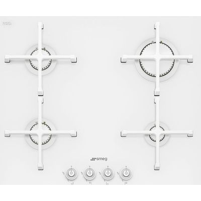 8017709179090 | Smeg PV164CB Linea 60cm 4 Burner Gas on glass Hob With Straight Edge Glass   White