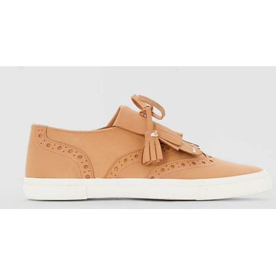 Leather Trainers with Mexican-Style Tab