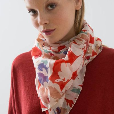 Woman's extra-large silk square scarf with a multi-coloured floral print, HIJONA