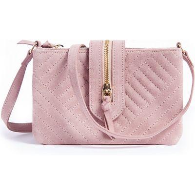 Quilted Suede Handbag, Pink