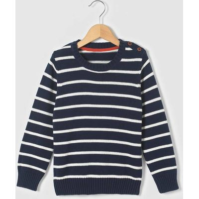 Long-Sleeved Striped Cotton Jumper, 3-12 Yrs