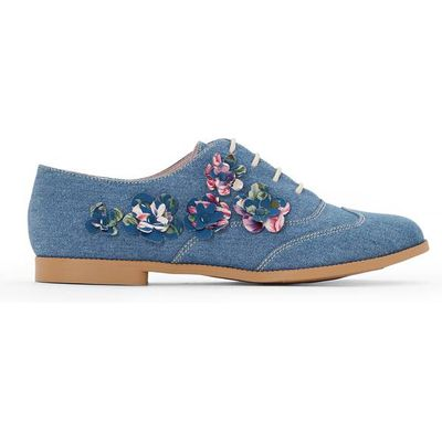 Embroidered Floral Denim Brogues
