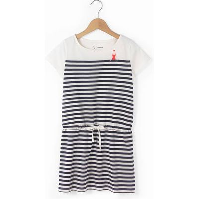 Striped Short-Sleeved Dress, 3-12 Years