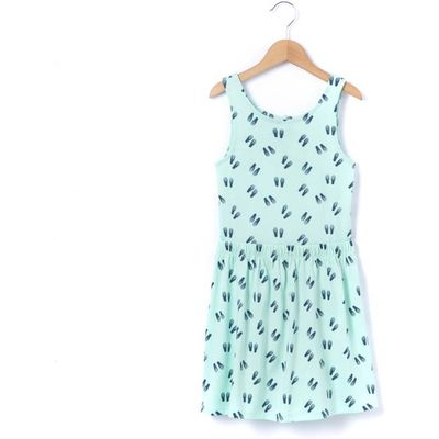 Printed Sleeveless Dress with Open Back, 3-12 Years