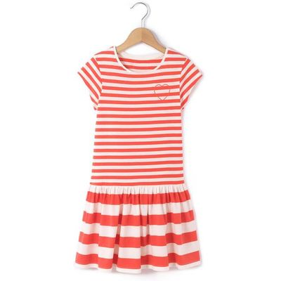 Striped Frill Short-Sleeved Dress, 3-12 Years