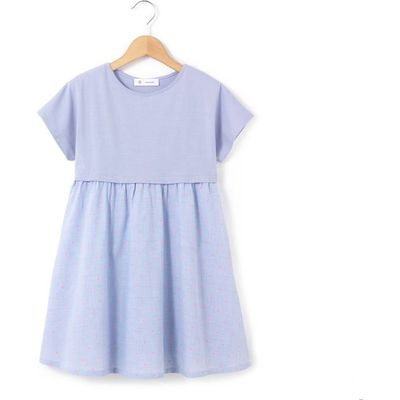 Dual Fabric Short-Sleeved Dress, 3-12 Years