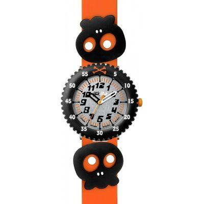Childrens Flik Flak Skully Bones Orange Watch