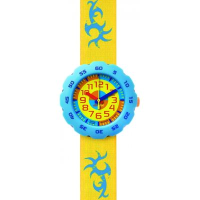 Childrens Flik Flak Boy In Yellow Watch