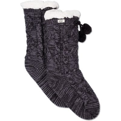 UGG Pom Pom Fleece Lined Crew Sock Womens Cold Weather Accessories Nightfall