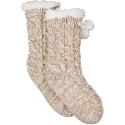 UGG Pom Pom Fleece Lined Crew Sock Womens Cold Weather Accessories Cream