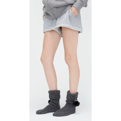 UGG Pom Pom Short Rain Boot Sock Womens Cold Weather Accessories Charcoal Heather