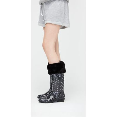 UGG Faux Fur Tall Rain Boot Sock Womens Cold Weather Accessories Black