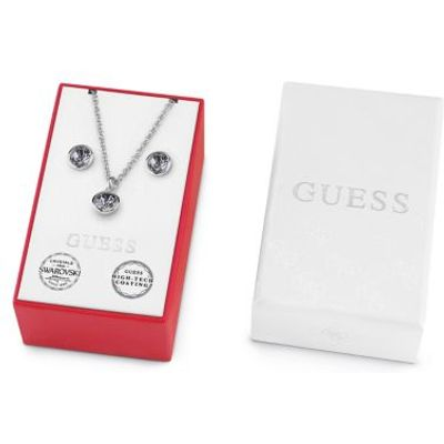 Guess Box Set With Black Crystal Necklace And Earrings