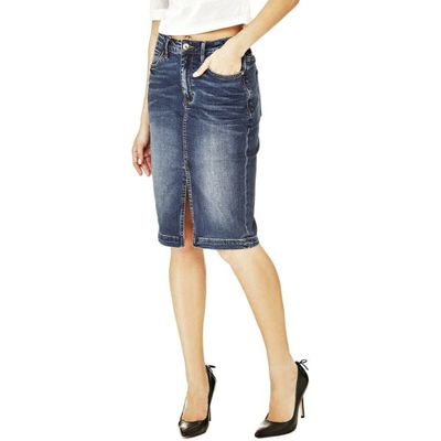 7613359227962   Guess Calf Length Denim Skirt Store