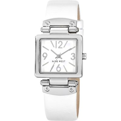 Nine West Square Dial White PU Strap Watch, White