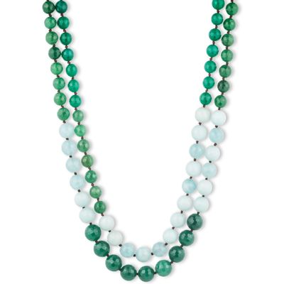 LONNA & LILLY Two Row Agate and Amazonite Bead Necklace, Silverlic