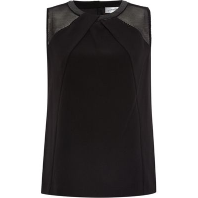 Tahari ASL Black Sleeveless Top With Pleather Collar and Mes, Black