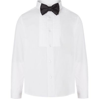 Howick Junior Boys Pleated Bib Long Sleeved Shirt And Bow Tie, White