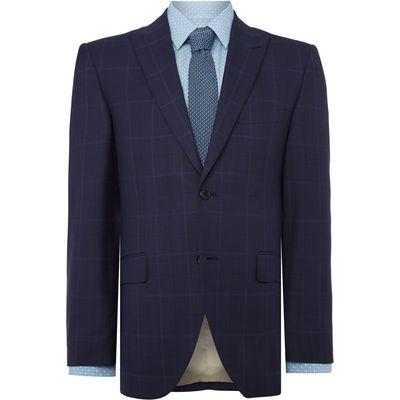 Men's Corsivo Bolva SB2 peak lapel check suit jacket, Blue