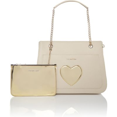 Love Moschino Gold Heart ivory large shoulder bag, White