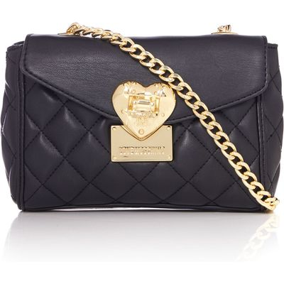 Love Moschino Superquilt black small flapover shoulder bag, Black