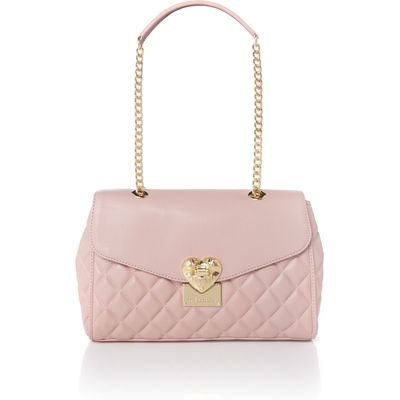 Love Moschino Superquilt pink medium flapover shoulder bag, Pink