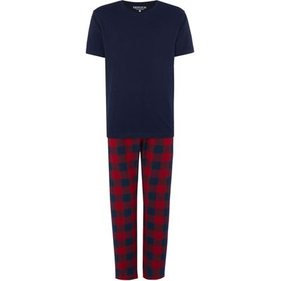 Men's Howick Red check with navy tee pyjama set, Blue