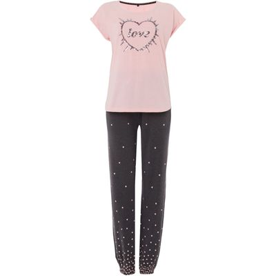 Therapy Love Heart Sequin PJ Set, Pink
