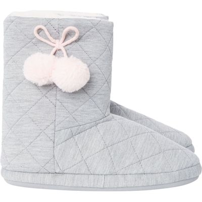 Therapy Quilted PomPom Slipper Bootie, Grey