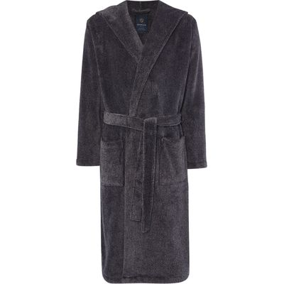 Men's Howick Hooded Charcoal Marl Fleece Dressing Gown, Charcoal