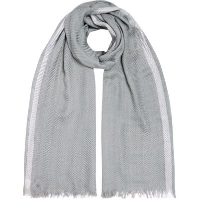 Gray & Willow Textured Plain with Stripe Border Scarf, Grey