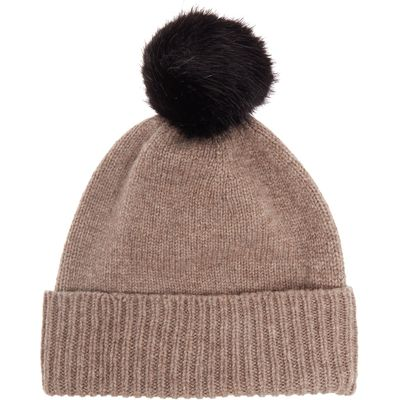 Helen Moore Knitted lambswool faux fur pom pom hat, Taupe