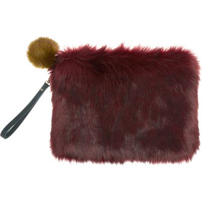 Helen Moore Faux fur large clutch bag, Red