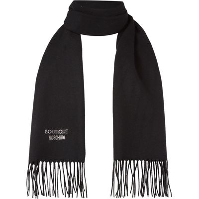Boutique Moschino Diamante logo scarf, Black
