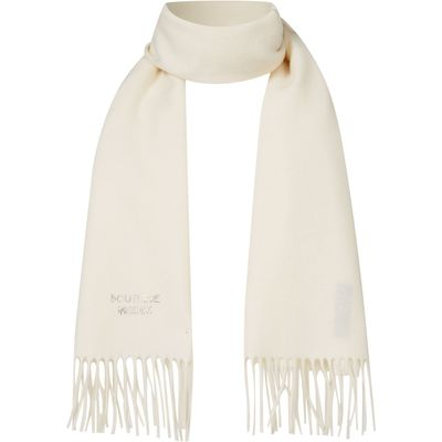 Boutique Moschino Diamante logo scarf, Cream