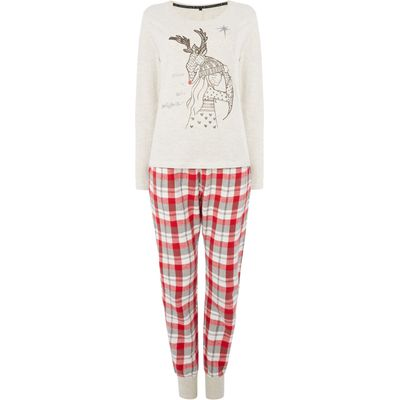 Therapy Rudolph Illustration PJ Set, Red