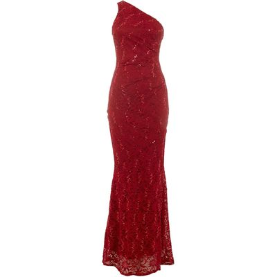 Jessica Wright One Shoulder Sequin Maxi Dress, Berry