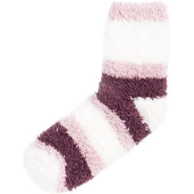 Elle Supersoft cosy socks with stripe, Purple