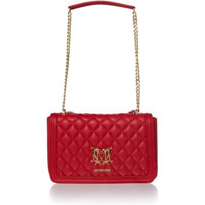 Love Moschino Superquilt foldover bag, Red