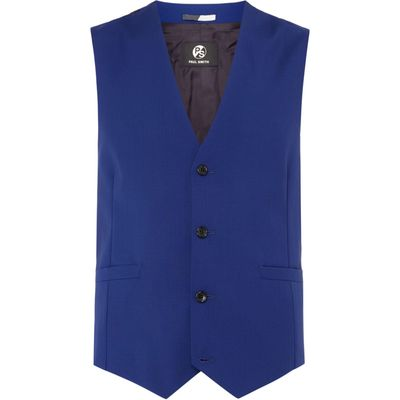 Men's PS By Paul Smith Classic Wool Waistcoat, Bright Blue