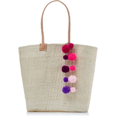 Helen Moore Large pom pom beach basket bag, Pink