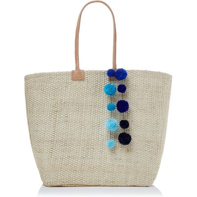 Helen Moore Large pom pom beach basket bag, Blue