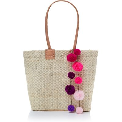 Helen Moore Small pom pom beach basket bag, Pink